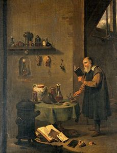 366px-An_alchemist_in_his_laboratory._Oil_painting_by_a_follower_o_Wellcome_V0017632-1